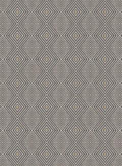 Decostoffen Geometrisch grijs geel linnenlook