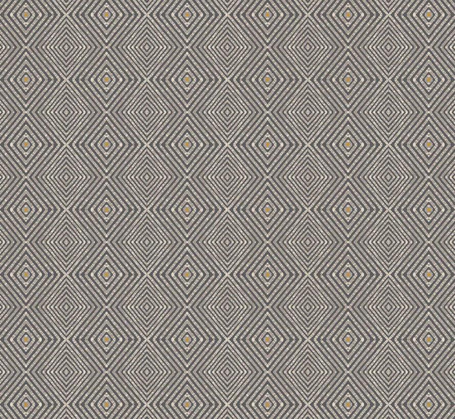 Geometrisch grijs geel linnenlook
