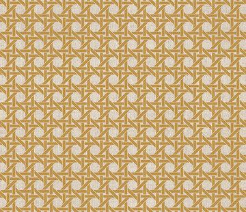 Decostoffen Geometrisch okergeel linnenlook