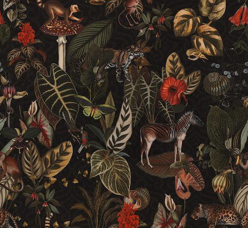 Decostoffen Jungle donker velvet digitale print