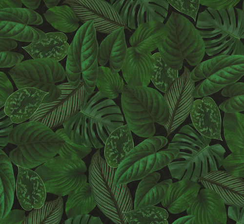 Decostoffen Groene bladeren velvet digitale print