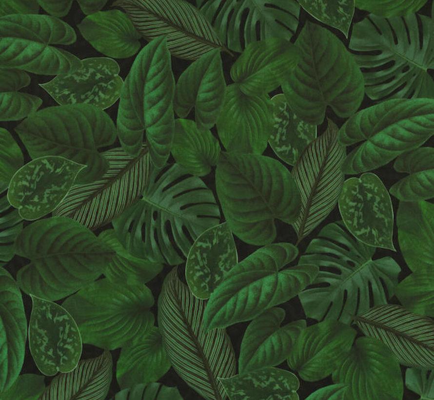 Groene bladeren velvet digitale print