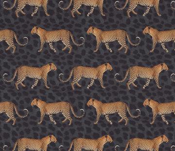Decostoffen Luipaard zwart velvet digitale print