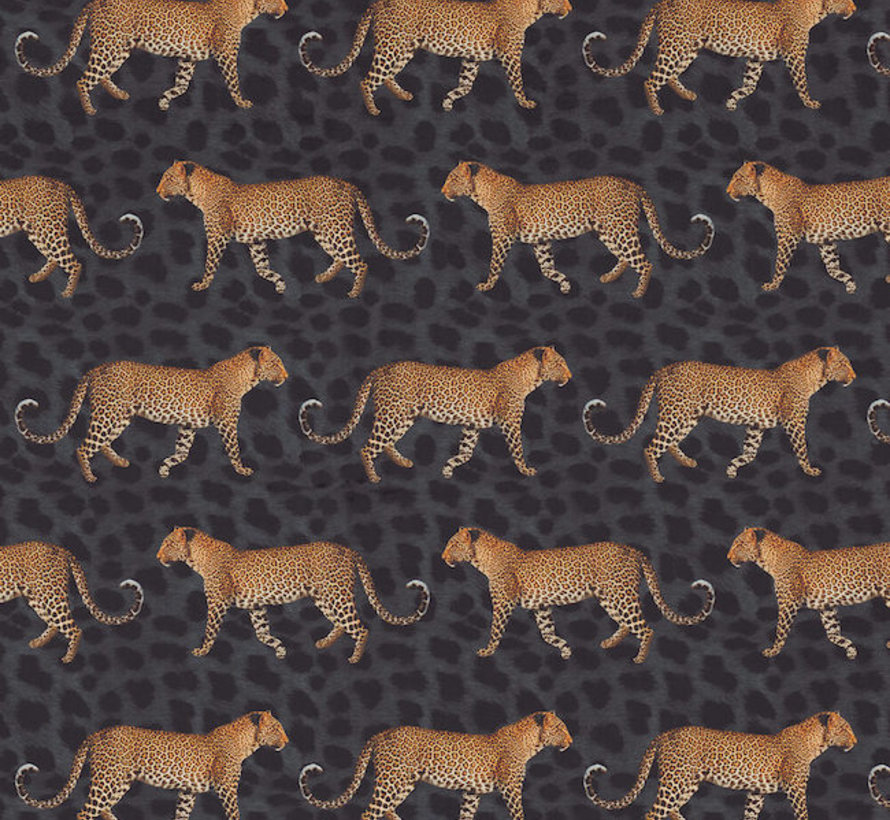 Luipaard zwart velvet digitale print