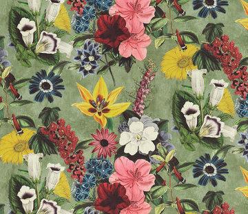 Decostoffen Vintage bloemen velvet digitale print
