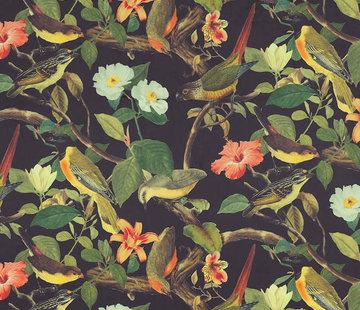 Decostoffen Vogels tropical velvet digitale print stof