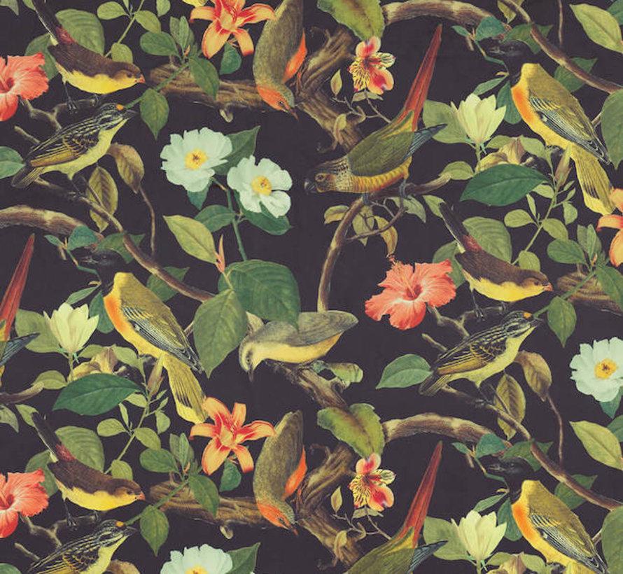 Vogels tropical velvet digitale print stof