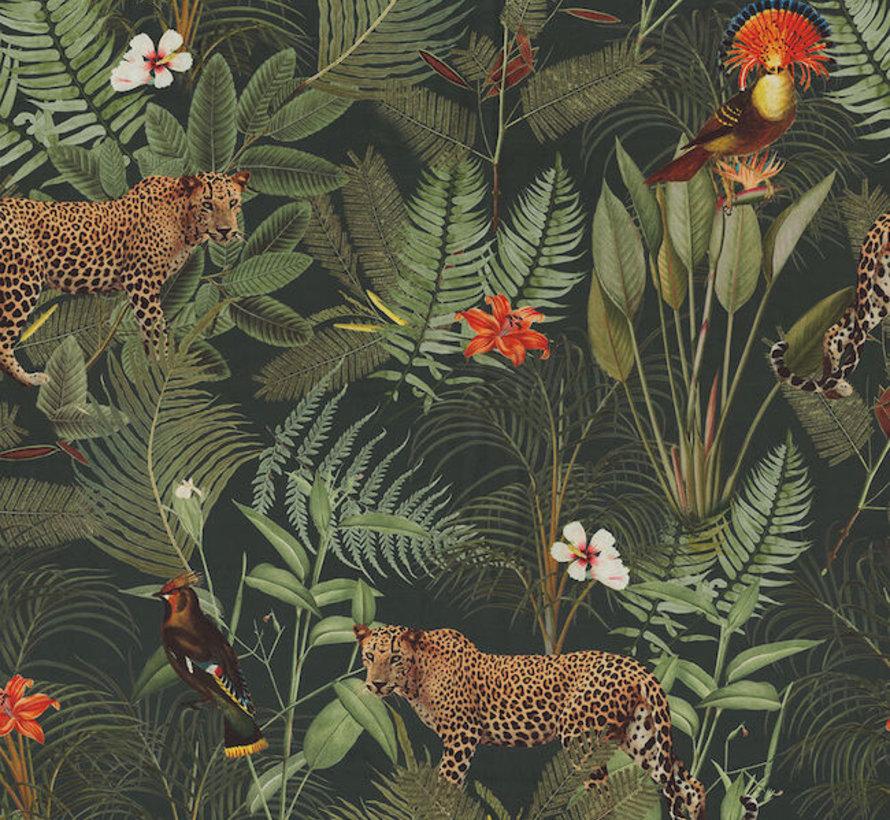 Luipaard tropical velvet digitale print stof
