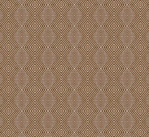Decostoffen Geometrisch bruin linnenlook