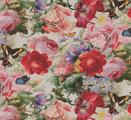Decostoffen Rode en roze rozen - outdoor