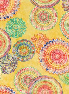 Decostoffen Mandala geel - outdoor