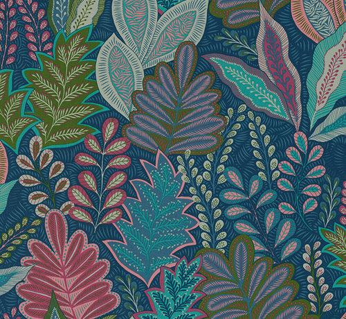 Decostoffen Botanisch blauw velvet deluxe meubelstof