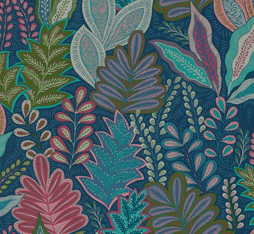 Botanisch blauw velvet deluxe meubelstof