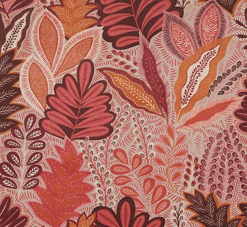 Decostoffen Botanisch roze velvet deluxe meubelstof