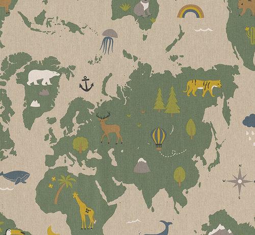 Decostoffen Landkaart linnenlook