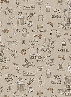 Decostoffen Koffie en thee linnenlook
