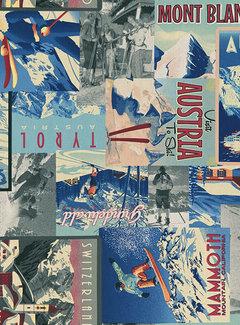 Decostoffen Ski vintage digitale print