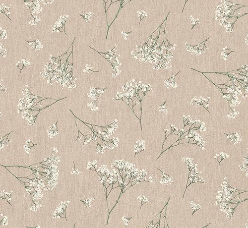 Decostoffen Witte gipskruid bloemen linnenlook