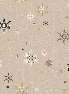 Decostoffen Kerst vlokken goud linnenlook
