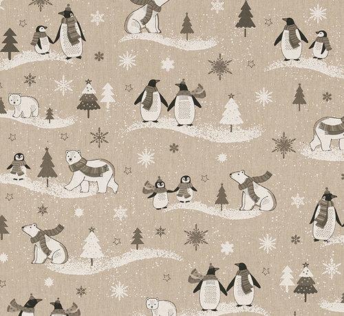 Decostoffen Pinguïns linnenlook