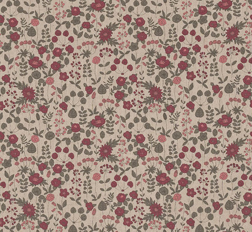 Decostoffen Roze bloemen linnenlook