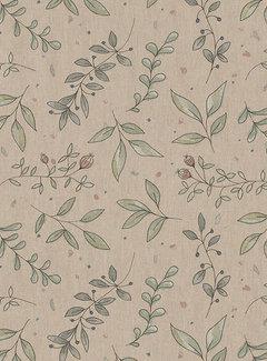 Decostoffen Pastel bloemen linnenlook