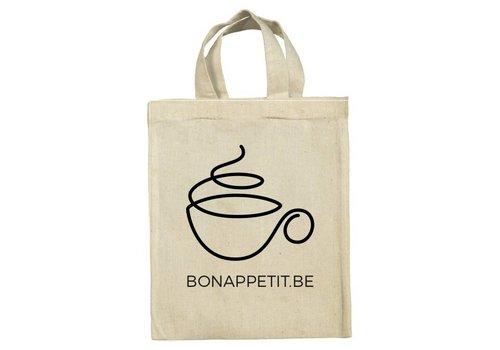 Bon Appetit Les Amis Zakje mini tote 'Coffee' uit ongebleekt katoen