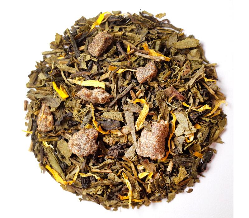 Cylinder doos met losse groene thee met peer BIO (75g)