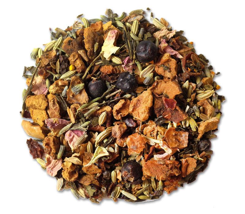 Doos met 10 zakjes Detoxania groene thee met kurkuma BIO (25g)