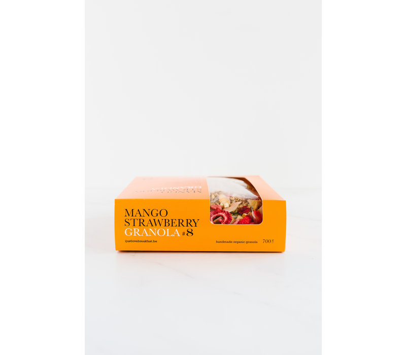 Handgemaakte BIO granola #8 Aardbei Mango crunch Fanbox (700g)