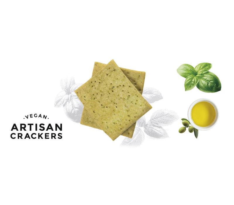 Handgemachte vegan Cracker mit Basilikum (130g)