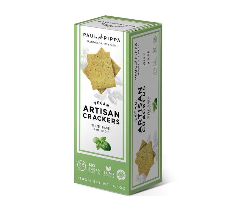 Handgemaakte vegan crackers met basilicum (130g)