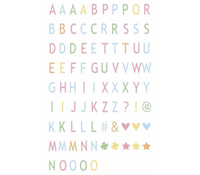 LEDR® - 85 pastel coloured letters & symbols  - A6
