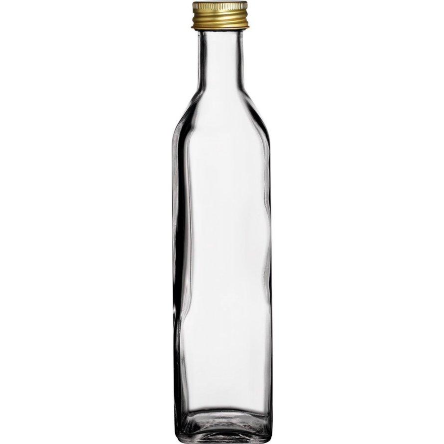 Glasflasche eckig 500ml