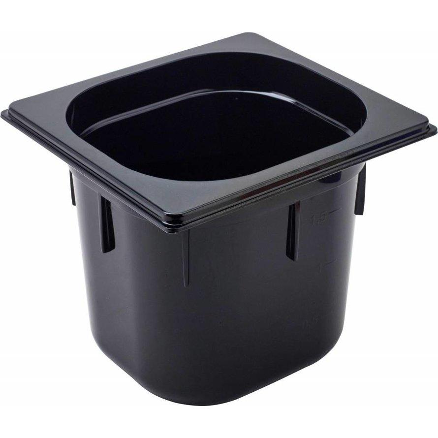 GN Behälter 1/6 Polycarbonat schwarz T: 150mm, 3,2L