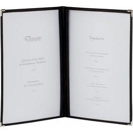 Amerikanische Speisenkarte A4 4 Fenster schwarz, Ecken silber - NEU