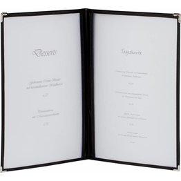 Amerik. Speisenkarte A5 mit 4 Fenster  schwarz, Ecken silber