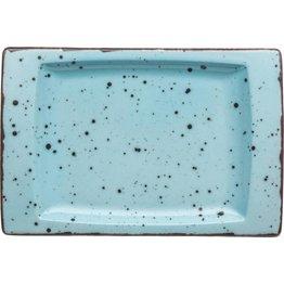 "Porzellanserie ""Granja"" aqua Platte flach eckig, 18 x 12 cm - NEU"