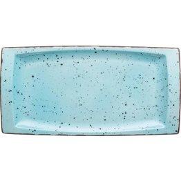 "Porzellanserie ""Granja"" aqua Platte flach eckig, 18 x 36 cm - NEU"