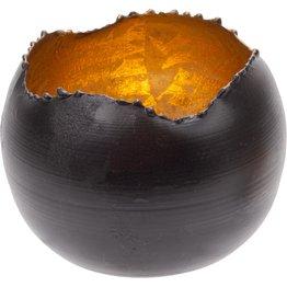 Teelichthalter schwarz/gold, rund Ø 9cm - NEU