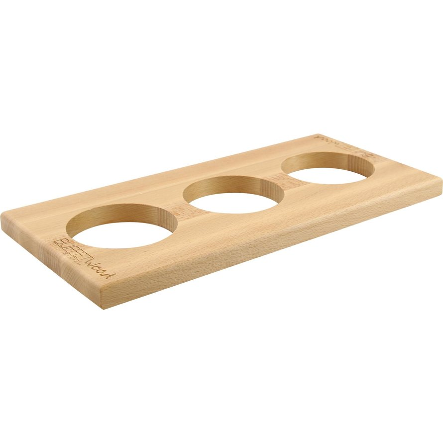 "Buffetsystem ""Wood"" GN 1/3  Aufsatz 2cm mit 3 Aussparungen Ø 10cm"