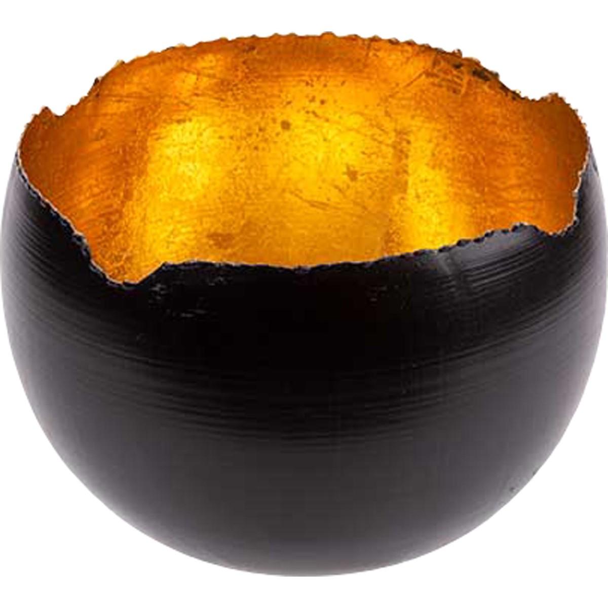 Teelichthalter schwarz/gold, rund Ø 6cm
