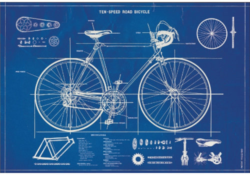 Cavallini Papers & Co Cavallini - Bicycle Blueprint - Greeting Card