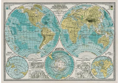 Cavallini Papers & Co Cavallini - Hemisphere Map - Wrap/Poster