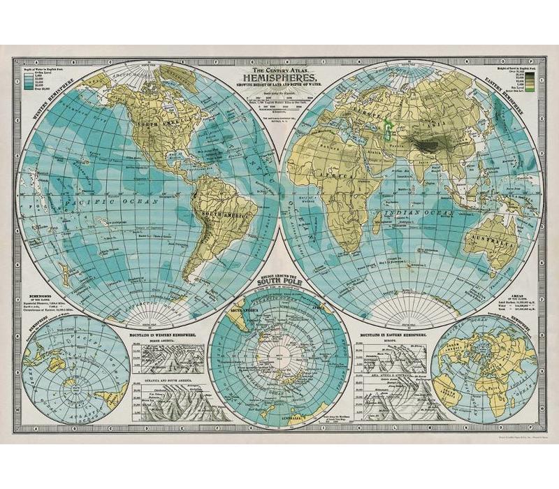 Cavallini - Hemisphere Map - Wrap/Poster