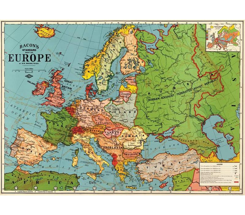 map of europe posters Cavallini   Europe Map 3   Wrap/Poster   Grey Street