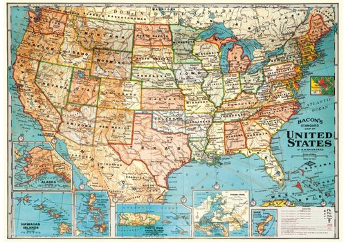 Cavallini Papers & Co Cavallini - USA Map - Wrap/Poster