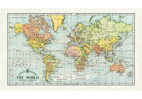 Cavallini Papers & Co Cavallini - World Map - Tea Towel
