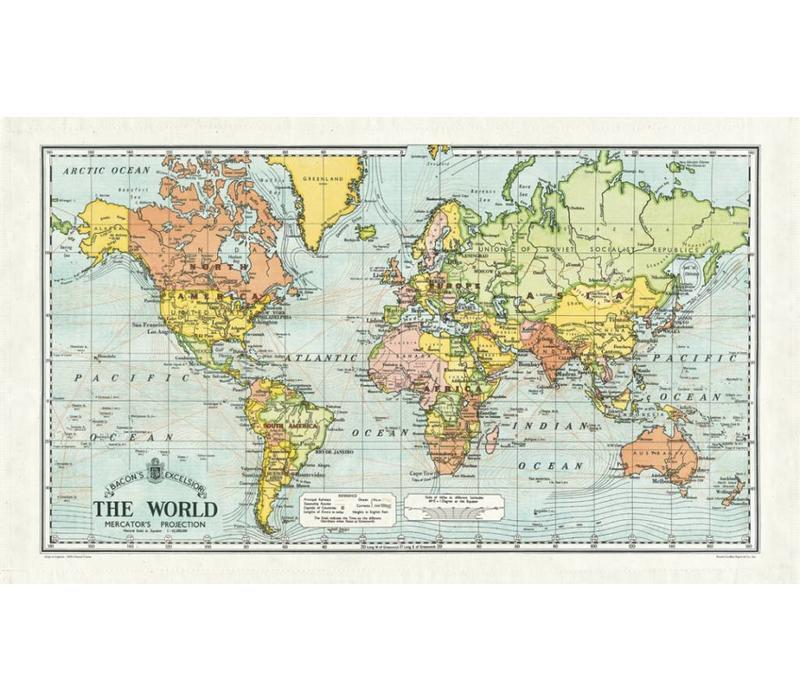 Street World Map.Cavallini World Map Tea Towel Grey Street