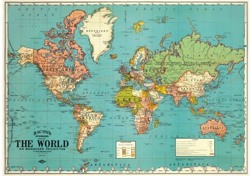 Cavallini Cavallini - World Map 2 - Wrap/Poster